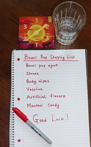Bowel Prep shopping list